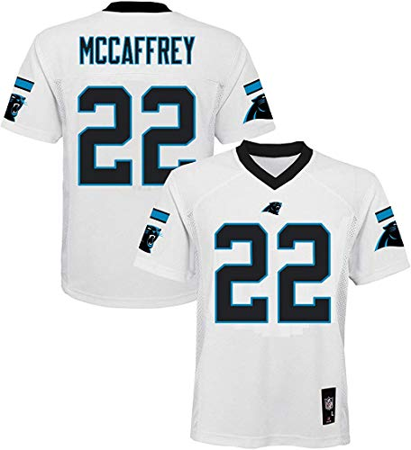 Christian McCaffrey Carolina Panthers NFL Boys Youth 8-20 White Road Mid-Tier Jersey (Youth Small 8)