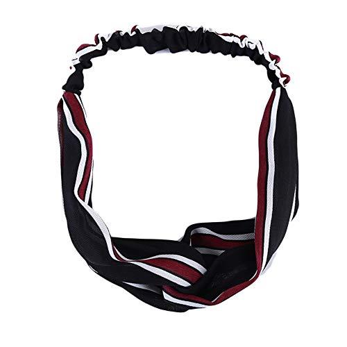 UNKONW Dreamlulu Wide Headband Elastic Cross Hair Band Knotted Head Wrap Striped Hair Acessories for Women,black