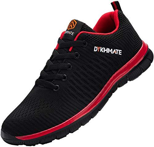 DYKHMATE Zapatillas de Deportes Hombre Ligero Transpirable Zapatos para Correr Gimnasio Casual Sneakers (Negro Rojo,36 EU)