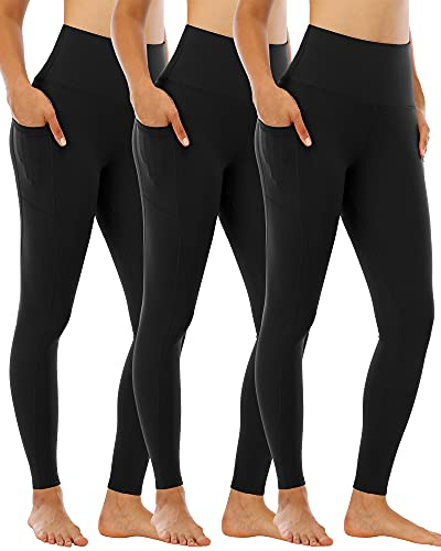 CHRLEISURE Leggings for Women with Pockets, High Waisted Tummy Control Workout Yoga Pants 3 Pack 3Black XL