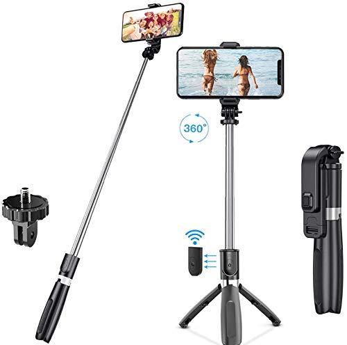 Alupper Selfie Stick Treppiede Bluetooth con otturatore remoto Wireless e Supporto per treppiede Rotazione di 360 °, Compatibile per telefoni Android iOS e Altri Smartphone da 3,5-6,5 Pollici , Nero