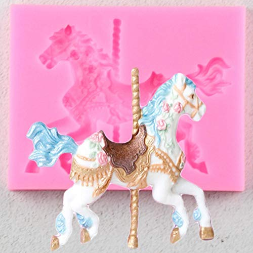 LKJHG Carousel Horse Shape Silicone Cake Mold Bakeware 3D Silicone Mould for Chocolate Clay Fondant Cake Tools Decorating