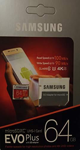 Tarjeta de memoria EVO+ microSDXC de 64 GB para Samsung y cualquier smartphone Android.