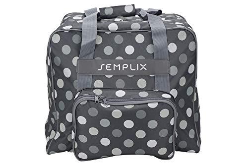 SEMPLIX Overlocktasche/Coverlocktasche Polka Dots, Groß, Stabil, für Transport/Aufbewahrung Aller gängiger Maschinen Anthrazit/Grau 44x38x33cm