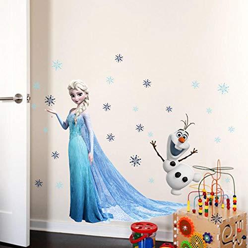 Cartoon Elsa Anna Prinzessin Wandaufkleber Wohnkultur Wohnzimmer Disney Frozen Wandtattoos PVC-Wandkunst Kunst DIY Poster Dekoration
