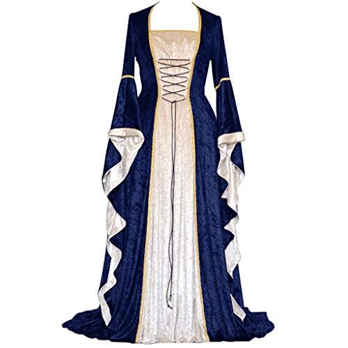 Vestido medieval para mujer de Allence, disfraz de reina victoriana gótico con encaje, cuello en U, mangas de trompeta asimétrico, vestido de princesa renacentista, marine, XL