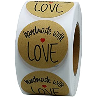 "Hybsk(TM) 1.5"" Inch Round Natural Kraft Handmade With Love Stickers with Black Font Total 500 Adhesive Labels Per Roll (1 Roll)"