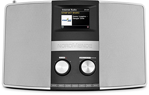 Nordmende Transita 400 - Internetradio (DAB+, UKW, Stereo-Radio, W-LAN, Spotify Connect, Bluetooth-Audiostreaming, NFC, Farbdisplay, Wecker, Kopfhöreranschluss, 2 x 10 Watt, AUX-In) schwarz/silber