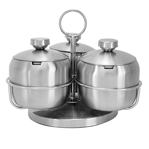 304 Stainless Steel Condiment Pot Seasoning Pot Set Innovative Rotating Condiment Spice Salt Sugar Jar Container with Lid Spoon