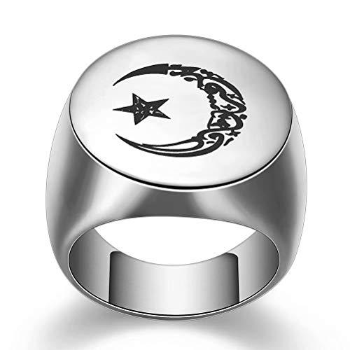 WOGOU Mens Titanium Steel Muslim Allah Moon and Star Signet Rings, Muslim Allah Islam Ring, Silver/Gold Size 7-12