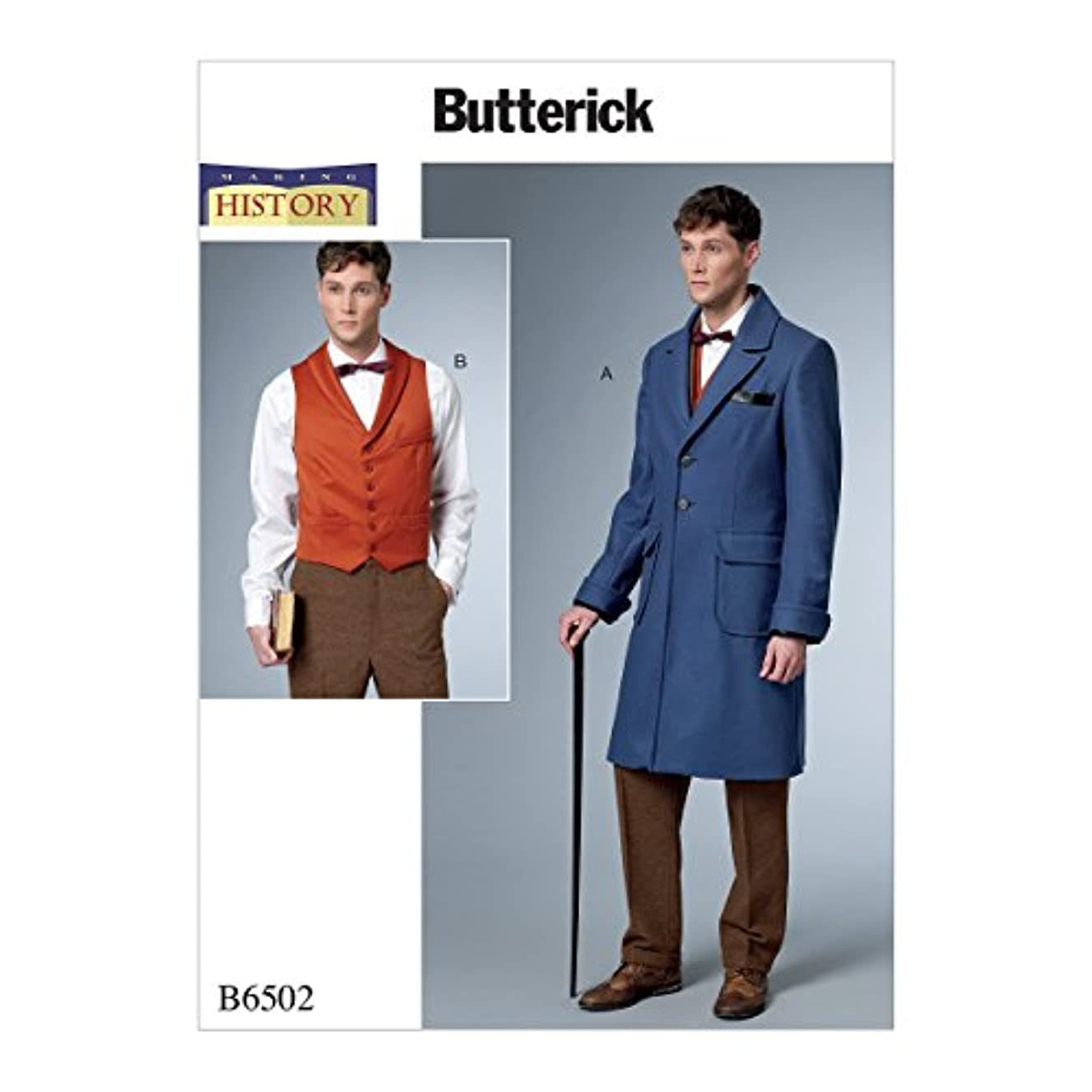 Butterick B6502MQQ Men's Historical Early 20th Century Coat and Vest Sewing Pattern, Sizes 38-44