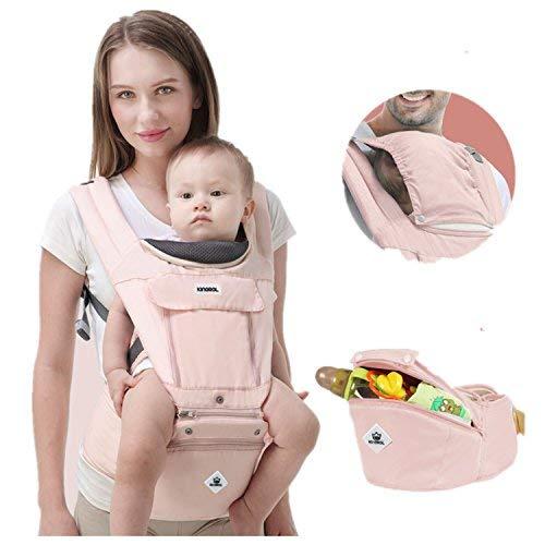 tqgold Marsupio Neonato Ergonomico/Regolabile Porta Bebè 3in1,12 posizioni,Zaino con sedile ad anca,per tutte le stagioni -per al bambino in crescita (neonato, neonato e bambino),rosa