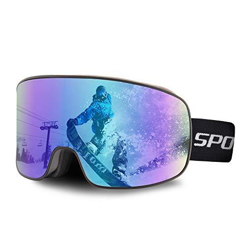 OULIQI Skibrille Herren Damen,Snowboard Brille für Brillenträger Schneebrille OTG UV-Schutz Anti Fog Skibrillen für Wintersportarten, Skifahren, Skaten (Schwarz/Blau - (16.74{dd1d975e2406370b518cd8b19aa0567a7963661b9b65db491fa98607ccfc8ef0}))