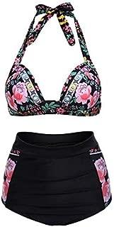 BEESCLOVER Women's Halter Geometric Print High Waisted Swimsuit Bathing Suits Bikini Black and Flower XXL