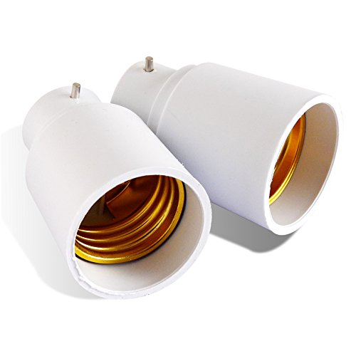 Hestec 23421 Lot de 2 Adaptateurs B22/E27 Plastique/ABS/Métal Blanc 3.4 x 3.4 x 5 cm