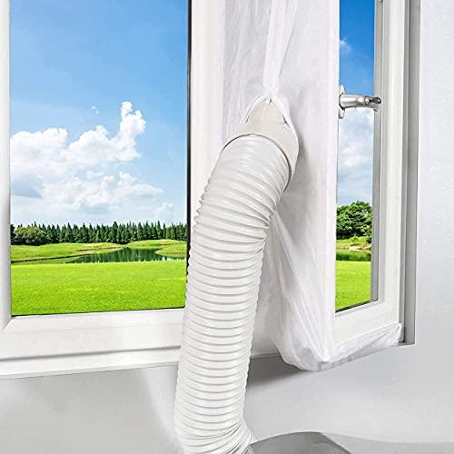 Tissu joint 210 cm pour climatisation fenêtres portes Tissu de calfeutrage kit climatiseur mobile portes et fenêtres Isolation fraîcheur Installation simple et pratique (Fenêtre 210x90 CM)