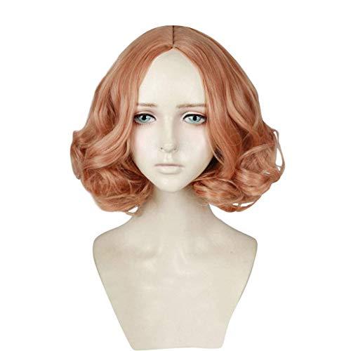 Persona 5 (Haru Okumura) Anime Cosplay pelucas corta rizado mullido con capas de calor resistente a la fibra sintética de la fibra rosa anaranjada 14 pulgadas Wensong