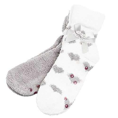 2 Pair Pack of Kissables Lavender Infused Chenille Fluffy Socks - Grey & Grey Hearts By MinxNY