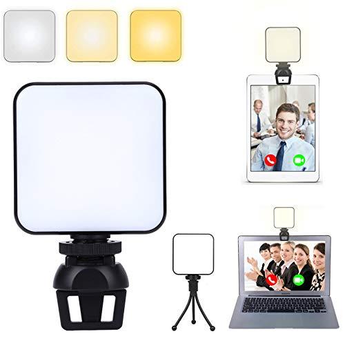 LMIX Luce di Riempimento per Videoconferenza con 64 LED, Luce Fotografica Portatile Dimmerabile con Clip, Kit di Illuminazione Mini Luce di Riempimento, per Studio Trucco Selfie Video Vlog