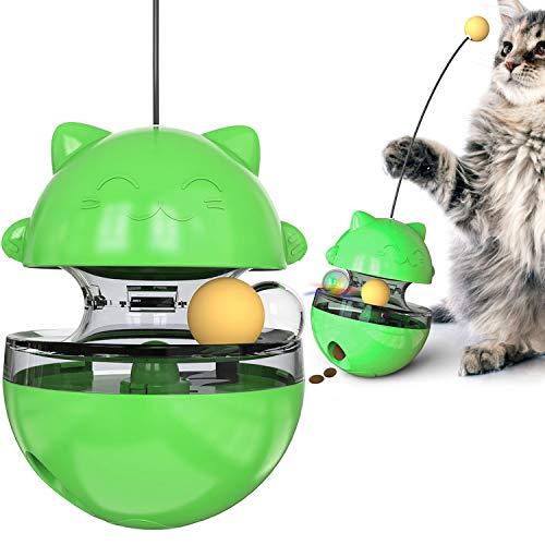 猫犬おもちゃ 猫ボール おやつボール 自動回転 タンブラー ク漏れ食品ボール 餌入れ食器 一人遊び ストレス解消 知育玩具 給餌ボール 早食い防止 運動不足解消 猫犬兼用 かわいいラッキーキャットグリーン