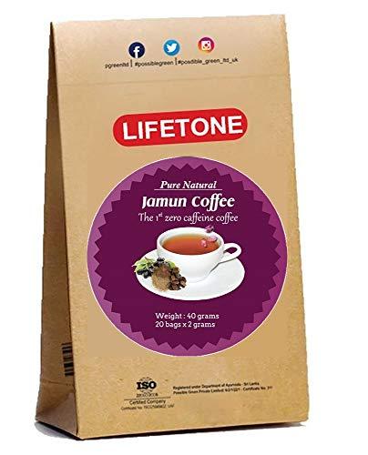 Jamun Samenkaffee | Mischung aus Ingwer Koriander Kardamom Jamun Samen | Koffeinfreie Kaffee-Alternative | Seltener aromatischer Kräuterkaffeeersatz, 20 Beutel, 40g