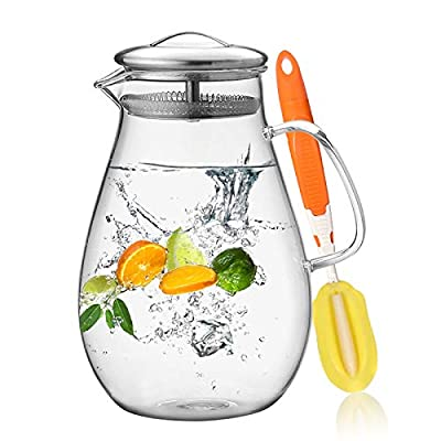HIWARE 64 Ounces Glass Pitcher with Stainless Steel Lid / Water Carafe with Handle - Good Beverage Pitcher for Homemade Juice & Iced Tea, Cleaning Brush Included by Hiware