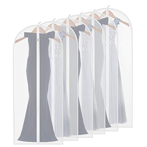 homeminda Garment Bag for Long Dress,60 Inch Moth Proof Garment Bag Clear Dust Cover White Breathable Full Zipper for Clothes Storage Closet Pack of 6
