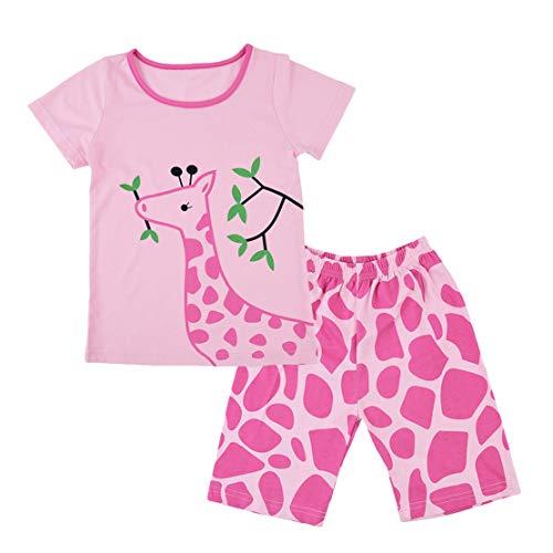 Pijamas Jirafa Niña Conjunto de Pijama Verano Ropa Set Algodon 100% Manga Corta Dos Piezas Niño Tops y Pantalones Cortos