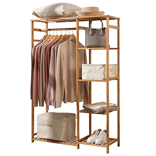 lehom Bamboo Clothing Rack 6 Tier Storage Shelves Clothes Hanging Rack Bamboo Garment Rack Wooden Clothes Hanger Rack for Cloth Shoe Coat Storage Organizer Shelf in Entryway Office Shop Laundry Corner
