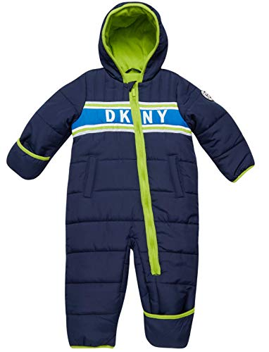 DKNY Baby Boys' Snowsuit Hooded Fully Fleece Lined Onesie Pram with Convertible Mittens, Size 12 Months, Navy/Lime