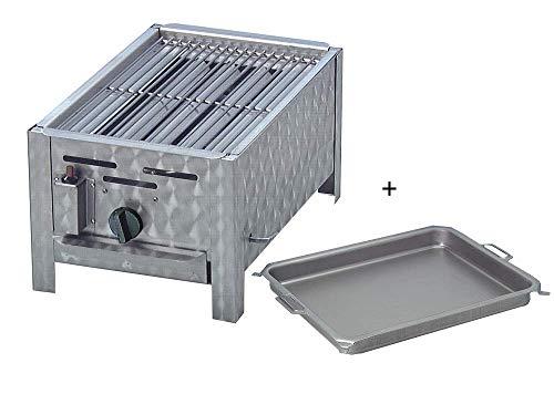 Gasgrill 1-flammig mit 3,6 KW regelbar Tischgerät aus Edelstahl mit Pfanne Grillrost Flammabdeckung und Fettauffangwanne Gasschlauch Regler Flüssiggas ideal für Privat Verein Gewerbe top Qualität