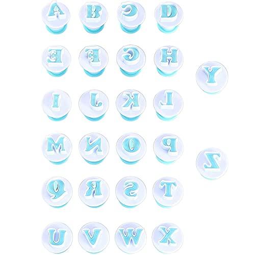 Alphabet Letters Molds, 26Pcs Plunger Cutters, Upper-Case Fondant Letter...