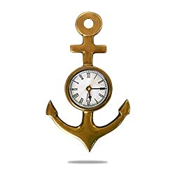 Deluxe Class Solid Brass Ship Anchor Wall Clock, 10, Antique Finish, Nautical Home Decorations
