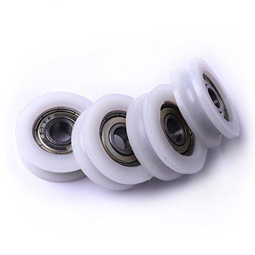 ATOPLEE 4pcs Runde Groove Nylon Pulley Räder Rollen für Schieber/Winkel Bar/Schubladen, 8x32.5x10mm