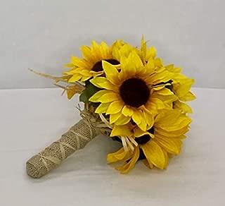 Sunflower bouquet, Artificial Sunflower Wedding bouquet, Burlap Rustic Handle, Silk wedding bouquet, Keepsake, Forever Flowers by Gigi