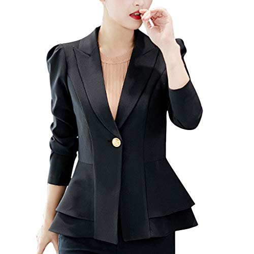 SHUBIHU Mode Mantel Frauen Business top Taste Revers Langarm Anzug Bluse losen Mantel (Schwarz, L)