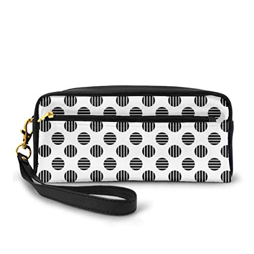 Pencil Case Pen Bag Pouch Stationary,Minimalist Artistic Circles with Vertical and Horizontal Inner Lines,Small Makeup Bag Coin Purse