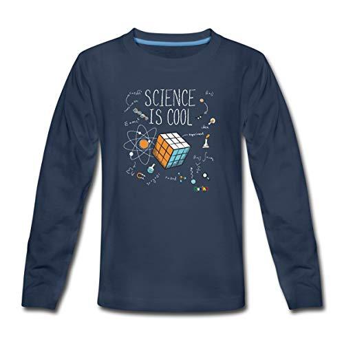 Spreadshirt Rubik's Cube Science Cool T-Shirt Manches Longues Premium Ado, 12 Ans, Bleu Marine