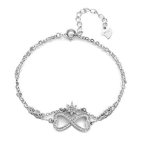 FPOJAFVN S925 Sterling Silver Infinity Endless Love Bracelet Fashion Star Zircon Adjustable Bracelet Jewelry Gifts for Women Girls Christmas,Silver