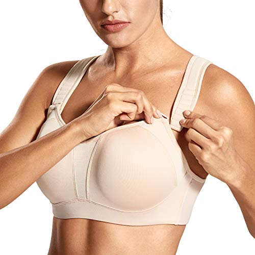 DELIMIRA Women's High Impact Full Support Contour Underwire Bounce Control Plus Size Sports Bra Beige 42E