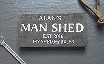 10x19cm, Personalised Man Shed Cave Est Year Plaque My Shed My Rules Fathers Day Grandad Gift Husband Dad Daddy Hand Painted Wood Signs with Quotes Home Wall Plaque 844084