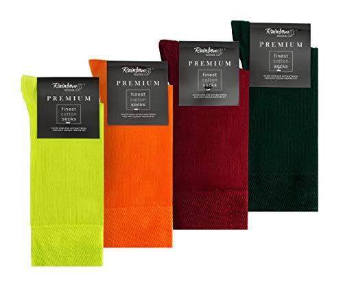 Rainbow Socks - Hombre Elegantes Calcetines Antibacterianos con Iones de Plata - 4 Pares - Limon Amarillo Naranja Rojo Oscuro Botella Verde - Talla 42-43
