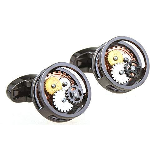 Hochwertige ManschettenknöPfe FüR Mechanische Uhrwerke Tourbillon-ManschettennäGel SchaltmanschettenknöPfe UhrenmanschettenknöPfe (Schwarze Runde)