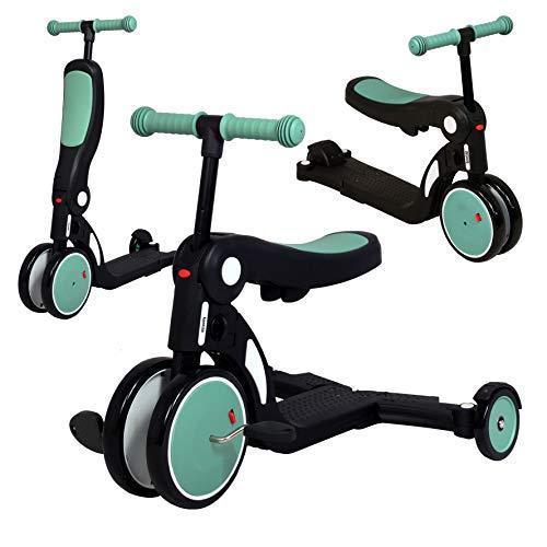 Looping SCOOTIZZ - La Trottinette Transformable Évolutive 5 en 1 (Jusqu'à 50kg) - Draisienne, Tricycle, Trottinette (Vert Amande avec Barre de Poussée)