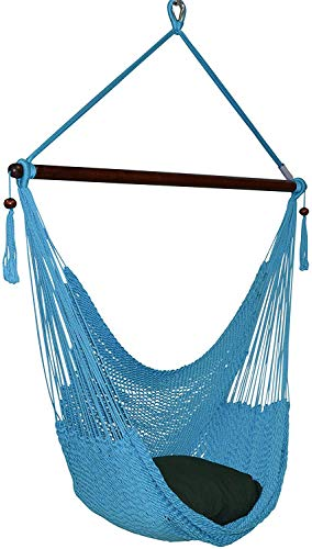Large Caribbean Hammock Chair - 48 Inch - Polyester - Hanging Chair - Light Blue