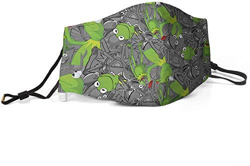 Waschbares Gesicht Máscara, Unisex, wiederverwendbar, Kermit-The-Frog-Muppet-Kinder-Spielzeug, Grau, Mund-Máscara für Erwachsene und Kinder.