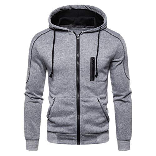 Jacke Herren Sportjacke Herren Reißverschluss Casual Hooded Jacket Bequeme Soft Fabric Herren Sportjacke Herbst Neu Slim Outdoor Sports Mode Herren Jacke Z-Gray. L