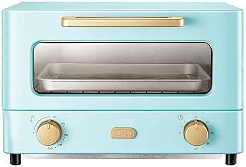 12L Mini horno, hornear en casa Temporizador de horno pequeño Doble puerta de vidrio, tapa e inferior multifunción Convección Tostadora Horno