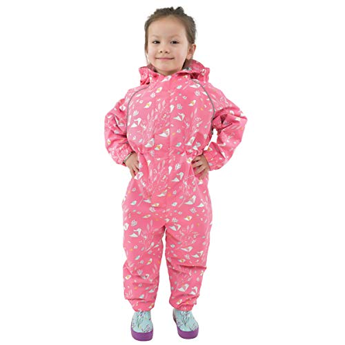 JAN & JUL Muddy Buddy for Toddler Girl Waterproof Rain-Suit Baby Kids (Puddle-Dry: Origami, 2T)