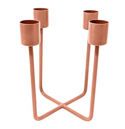 LaLe Living Kerzenhalter - Quattra - aus Eisen in Kupfer, 12,5x14,5cm, geeignet für 4 Stabkerzen als scandic Deko in Allen Räumen oder als moderner Adventskranz Weihnachtsdeko (Kupfer)